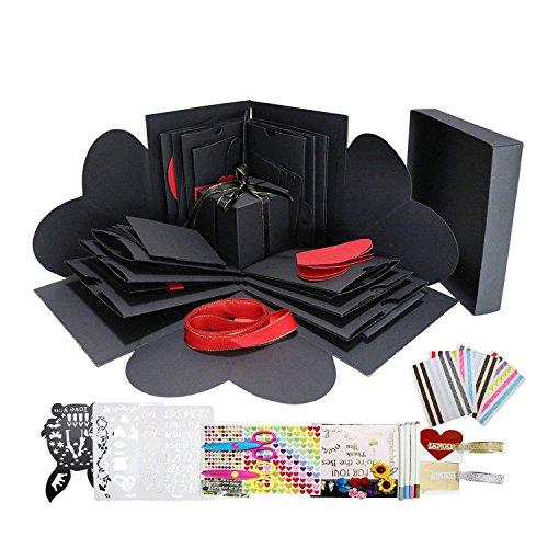 WIMI Explosion Box Mit Zubehör Scrapbook DIY Foto Album für Geburtstag Jahrestag Valentine Hochzeit Geschenk (Schwarz mit schwarzen Kästen)