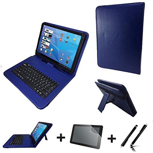 3in1 Starter set für Archos Diamond Tab (2017) Deutsche Tastatur Hülle | Schutz Folie| Touch Pen | 10.1 Zoll Blau Keyboard 3in1