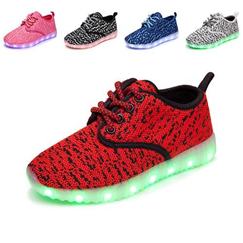 TULUO Kinder u. Jungen u. Mädchen LED-Schuhe USB-aufladenSneakers Kinder blinkende Trainers Redblack