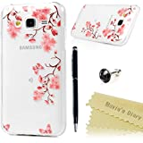 Samsung Galaxy J5 2015 Funda Silicona Gel TPU Transparente Ultra Slim - Mavis's Diary Carcasa Case Bumper Shock-Absorción y Anti-Arañazos - Flor