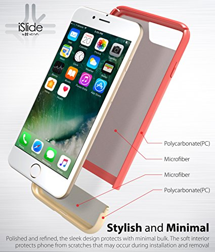 "iPhone 8 Plus / 7 Plus Hülle, Vena [iSlide][Two-Tone] Dock-Freundlich Slim-Fit Schutz Hart Case Cover für Apple iPhone 8 Plus / 7 Plus (5,5"") - Rot / Gold Koralle rot / Champagnergold"