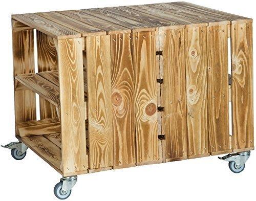 Mit Rollen Masse 62 X 50 48cm Couchtisch Abstelltisch Couch Tisch Weinkiste Holzkiste Regal Obstkiste Regaltisch Wohnzimmertisch Geflammt Einlage