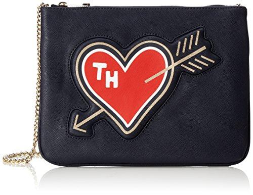 Tommy Hilfiger Honey Flat Crossover Deboss Heart, Cabas femme, Blau (Tommy Navy), 1x20x27 cm (L x H P)