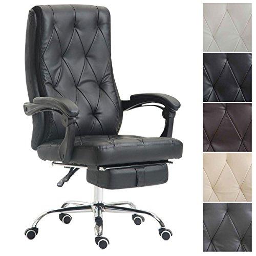 CLP Bürostuhl GEAR mit Kunstlederbezug, Chefsessel mit Fußstütze, max. belastbar bis 136 kg, höhenverstellbar, ergonomisch Schwarz