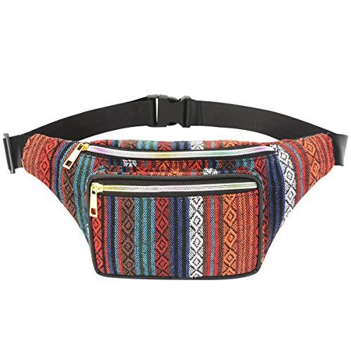 XingYue Direct Boho Ethnic Style Tribal Gürteltasche Outdoor Sports Brusttasche (Color : Orange Septum)