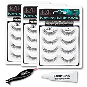 Ardell Fake Eyelashes Value Pack - Natural Multipack 110 (Black, 3-Pack), LashGrip Strip Adhesive, Dual Lash Applicator - Everything You Need For Perfect False Eyelashes by Ardell