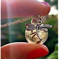 Libellula Collana di tarassaco Catena ARGENTO STERLING Pacco regalo - Ciondolo libellula gioielli a farfalla gioielli estivi Collana di Dente di leone regalo di amicizia