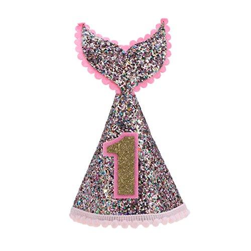 BESTOYARD Glitzer Partyhüte Baby Kinder 1. Geburtstag Party Kegel Hut Party Favors Lieferungen in Meerjungfrau Form (Rosa)