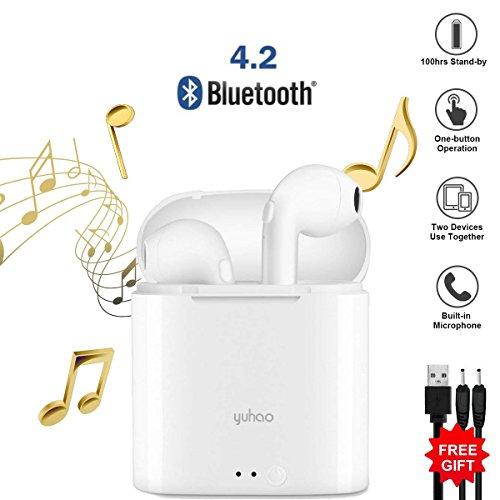 Auriculares Bluetooth, Mini Auriculares Inalámbricos con Micrófono Auriculares Intrauditivos Inalámbricos para iPhone X/8/7/7 Plus/6s/6s Plus y Samsung Galaxy S9/S8/S7