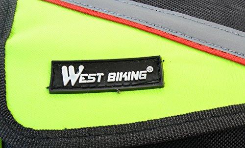 West Radfahren Fahrrad Front Tube Rahmen Tube Gepäcktasche Doppel Tasche für 10,7cm/12,2cm/14cm/15,2cm Plus Zoll Handy grün