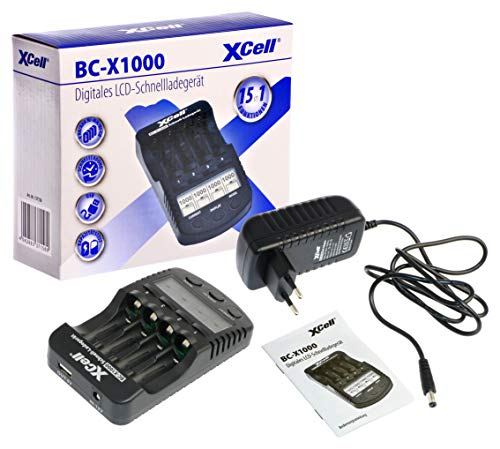 Hückmann 137156 XCell - Caricatore rapido BC-X1000 con display LCD, per batterie 1-4 AA e AAA MH/NI-Cd