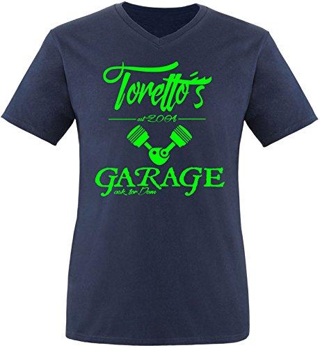 EZYshirt® Toretto´s Garage Herren V-Neck T-Shirt Navy/Neongrün