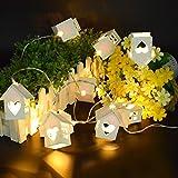 10-LED-hölzerne Schnur-Lichter Herzförmiges Haus Weihnachtsdekoration-Licht, feenhafte Weihnachtslichter Warme weiße Seil-Lichter, batteriebetriebene