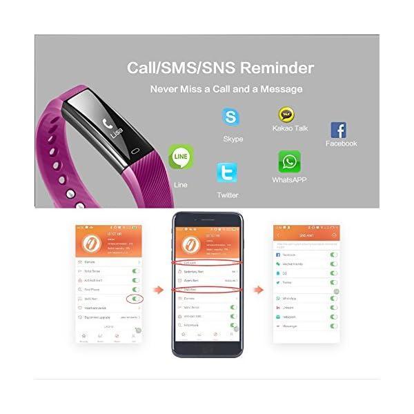Fitness Tracker Pulsera Inteligente, RobotsDeal id115 Recordar de llamada con Bluetooth Remoto Disparador Automático Inteligente Reloj Podómetro Inalámbrico Actividad Tracker ( Púrpura) 3