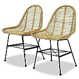 vidaXL 2X Esszimmerstühle Rattan Natur Küchenstuhl Essstuhl Loungestuhl Stuhl