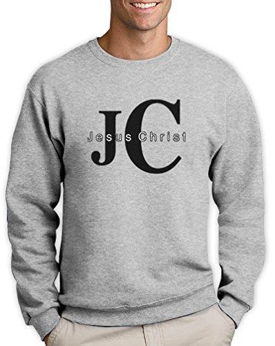 JC Jesus Christ Pullover Christus Weihnachten Kirche Grau Small Sweatshirt (Christ Jesus T-shirt)