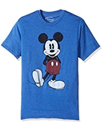 Disney mens  Full Size Mickey Mouse Distressed Look T-shirt Short Sleeve T-Shirt