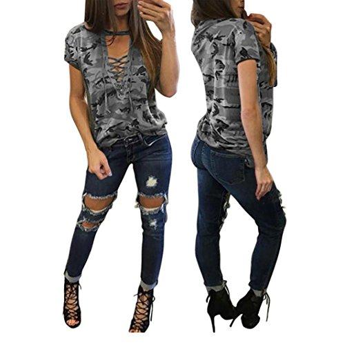 Amlaiworld Damen Kurzarm Shirt schlanken lässige Camouflage Bluse (Grau, S)