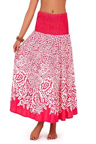 Damen Pistachio 2 In 1 Tiermuster Sommerkleid Damen Baumwolle Blumenmuster Langer Rock Rosa