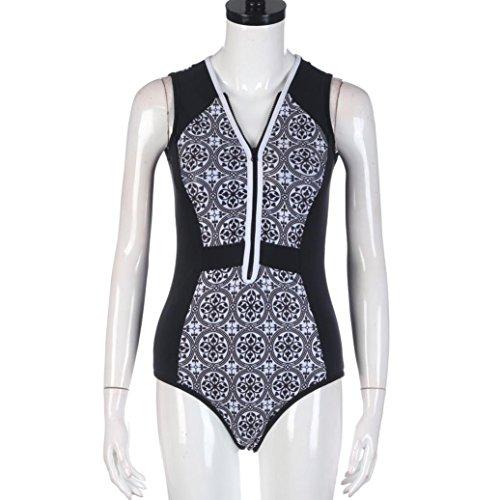 2017 Maillot de Bain, Xinan Femmes Swimwear Bikini Imprimé Rétro Tankini Beachwear Noir