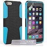 Yousave Accessories Tough Mesh Combo Silikon Cover Schutzhülle für iPhone 6Plus, blau/schwarz