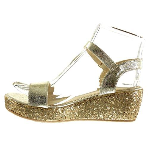 Angkorly Scarpe Donna Sandali Mule - Platform Shoes - String Perizoma - Glitter - Tacco A Zeppa Lucido Tacco Alto 6 Cm Oro