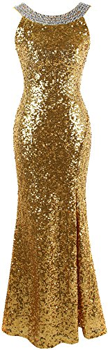 Angel-fashions Damen Rundhals Perlstickerei Paillette Ruckenfrei Schlitz Party Kleid XLarge Gold