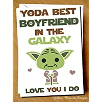 Funny Comical Birthday Valentine's Day Christmas Greeting Card Yoda Best Boyfriend In The Galaxy Love You I Do Wife Girlfriend Husband Alternative Naughty Adult Joke Hilarious Star Wars Jedi Trooper Engagement Wedding Card