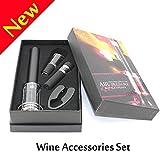Luftdruck Flaschenöffner Set,W-Unique Wein Flaschenöffner Profi-Weinöffner mit Folienschneider, Vakuumverschluss und Weinausgießer(Set 4 mit Geschenkbox )
