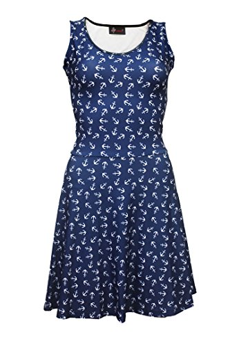 Kleid, mit Anker bedruckt, Ausgestellt Gr. XXL, blau Anker Kleid