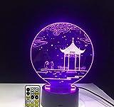Qhrdp Nachtlichter & Schlummerleuchten Antike Pavillon 3D Lampe Tischlampe 7 Farben Schreibtischlampe 3D Lampe Neuheit Led Nachtlichter Pavillon Kabinettsrat-Only Touch Switch