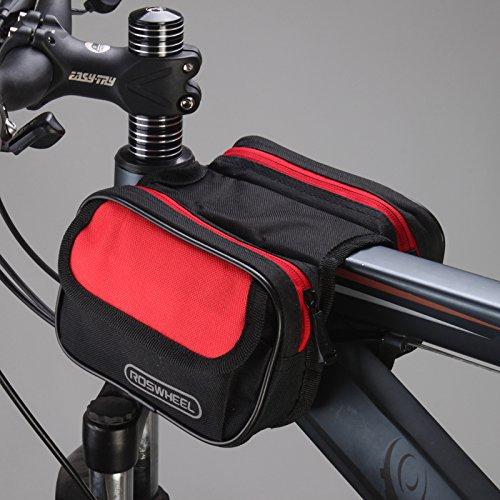 XY&GKLe Dazzle Fahrrad vorne Pack Mountainbike Overhead Tasche Sattel Bag Seite Handy Trolley Strahl Pack Reiten Ausrüstung Armaturen, machen Ihre Reise angenehmer Black and red