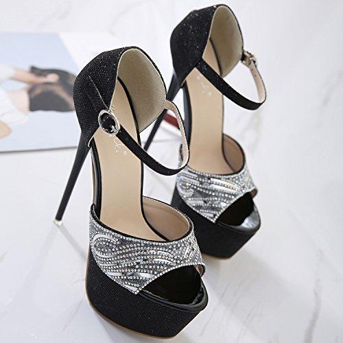 Oasap Women's Peep Toe Platform Ankle Strap High Heels Pumps Black