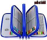 Xiaoyu 72 titolari portapenne porta matita con cerniera multipla e manico in tessuto oxford per matita acquerellata, penna gel, piccolo pennarello, blu (non incluse)