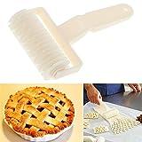 Kunststoff Mini Backen Teig Brot Cookie Pie Pizza Gebäck Lattice Roller Cutter, Kitchen Craft Kuchen dekorieren Kochen Backen Zubehör Tool–Beige, 12x 4,5cm