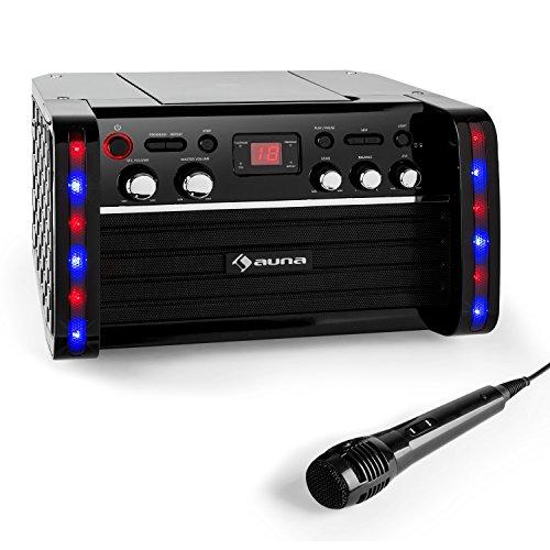auna DiscoFever • Karaokeanlage • Karaokemaschine • Kinder Karaoke Player • CD-Player • Spielt Karaoke CDs • Zwei Mikrofoneingänge • Video-Ausgang • LED-Beleuchtung • schwarz