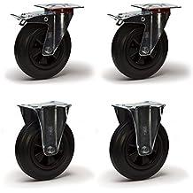 LOT9921 - Lote de 4 ruedas giratorias y freno, diámetro de 100 mm, goma, enmarcado de chapa de acero tratada con cinc, elástico de rodamiento con rodillo, desplazamiento fácil, silencioso, alto mantenimiento, para exteriores, color negro