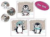 itsisa Magisches Handtuch Pinguin, 3er Set - Zauberhandtuch, Kinder Waschlappen, Kindergeschenk