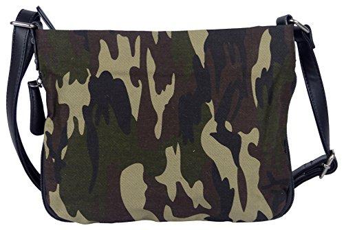 Bunte Umhängetasche Canvas Camouflage Army Style - Maße 27 x 20 cm/ohne Schulterriemen) - Damen Mädchen Teenager Tasche (camouflage) -