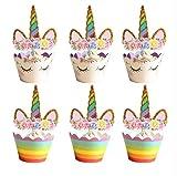 CUP CAKES Tazas de unicornio para fiesta de cumpleaños o cupcakes, 12 unidades