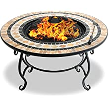 Centurion Supports Fireology BELUGA Opulent Garden & Patio Heater Fire Pit Brazier, Coffee Table, Barbecue and Ice Bucket - Marble Finish