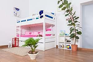 Etagenbett / Stockbett Easy Sleep K3/h inkl. Liegeplatz und 2 Abdeckblenden, 90 x 200 cm Buche Vollholz massiv weiß lackiert