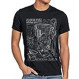 style3 Geisterjäger Protonenstrahler Blaupause Herren T-Shirt Proton Pack, Größe:L, Farbe:Schwarz