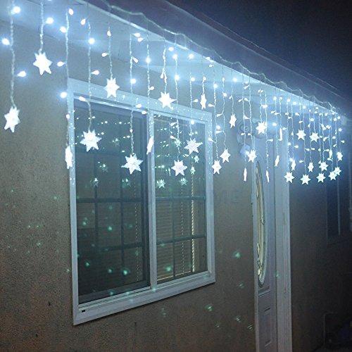 leds Girlanden Glühbirnen Lampe LED Deko Party Weihnachten Schneeflocke Dekoration Baum Duschvorhang Hell Licht Kaltweiß (Schneeflocken-party)