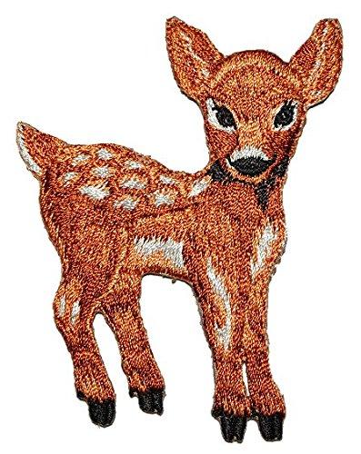 alles-meine.de GmbH REH 6,4 cm * 7,9 cm Bügelbild Aufnäher Applikation - Hirsch Tier Tiere Waldtiere mit weißen Punkten Waldtier -