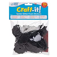 Baker Ross AW774 Spider Halloween Glitter Sticker Pack (Pack of 100), Assorted