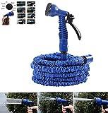 NBD® Gartenschlauch, 15m (22,5m, 30m, 60m), Gartenschlauch + Sprühdüse mit 7Funktionen, flexibel und leicht ausziehbar bis auf dreifache Länge, mit Anschluss für Wasserhahn, Schnellverbinder und Multifunktionsdüse–Blau
