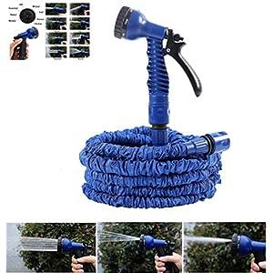 NBD – Manguera de riego para jardín (longitud retráctil 7,5 m/45 m, pistola de riego, 7 tipos de chorro, flexible…