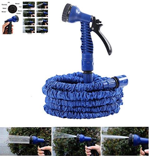 NBD® Gartenschlauch 150Fuß / 45m (25Fuß / 7,5m) + Abspritzbrause mit 7Funktionen, flexibel und leicht ausziehbar bis auf die dreifache Länge, mit Anschluss für Wasserhahn, Schnellverbindung und - Hochbeet-anschlüsse