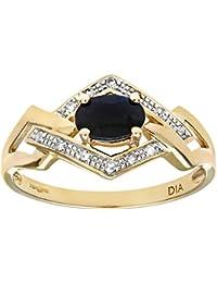 Naava Women's 9 ct Yellow Gold Round Brilliant Cut Diamond and Sapphire Fancy Ring